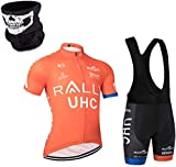 DIMPLEYA Traje de Hombre de la Motocicleta Camiseta de Ciclo + Bib Set Camiseta con Relleno de Gel en un Ciclo Pantalones Cortos de Ciclista Manga Corta Superior Libre Deporte,UNA,XXXL