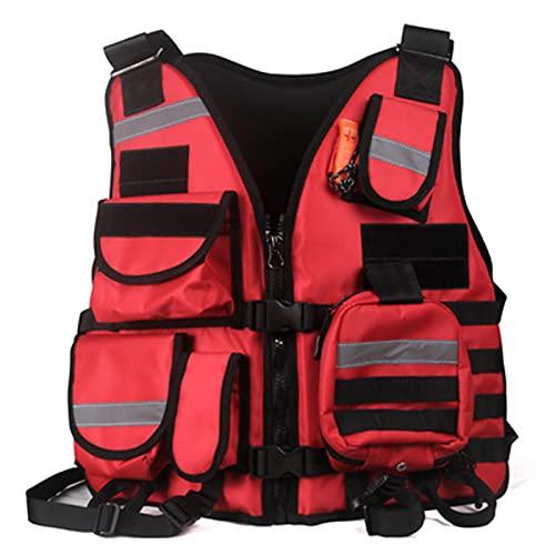 LHMYHHH Traje de Rescate de área de Agua, Chaleco Salvavidas, Chaleco de Alta flotabilidad Profesional Marino para Pesca en Kayak, Equipo de Chaleco de Rescate liviano y Multifuncional,Rojo