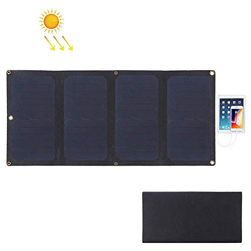 Tragbares Solar Ladegerät 28W 5V 3A Dual USB Mit Faltbaren SolarPanel Leichtgewicht Unterstützt QC3.0 und AFC Outdoor Kompatibel Mit Allen Handys, Kamera, Tablet - Schwarz