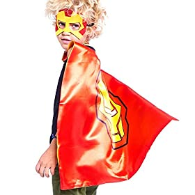 Superhero Capes and for Kids Halloween Cosplay Double Side Capes Superhero Toy Kids Best Gifts Yellow