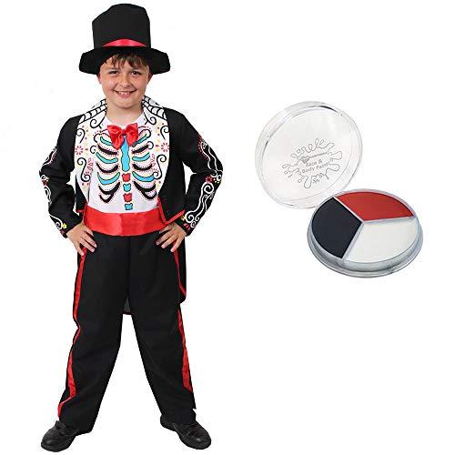 Just Contempo - Costume per bambini con scritta 'Day of the Dead', motivo: DIA de Los Muertos, con teschio di zucchero e teschio, colore: nero, bianco e rosso