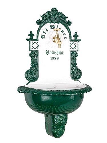 aubaho Brunnen Wandbrunnen 71,5cm Aluminium Waschbecken im Antikstil Fountain Garden