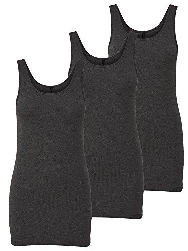 ONLY 3er Pack Damen Basic Tops Tank Top dunkel grau lang 15201465 (XL, Grau (Dark Grey Melange))