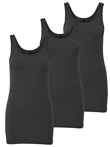ONLY 3er Pack Damen Basic Tops Tank Top dunkel grau lang 15201465 (L, Grau (Dark Grey Melange))