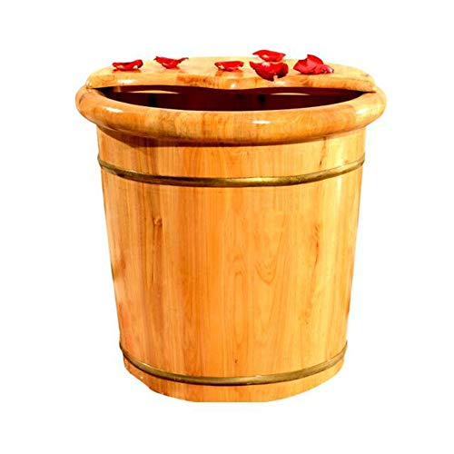 Great Price! QY Wooden Foot Bucket Foot Tub Solid Wood Foot Tub Pedicure Bucket with Lid Massager El...