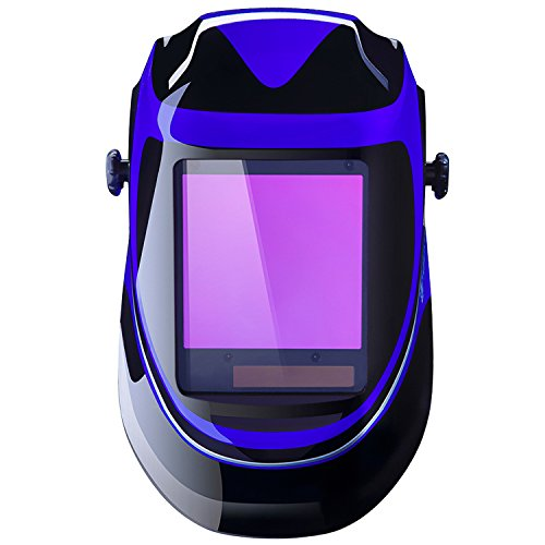 Solar Powered Welding Helmet Auto Darkening Professional Hood with Wide Lens Adjustable Shade Range 4/9-13 for Mig Tig Arc Weld Grinding Welder Mask