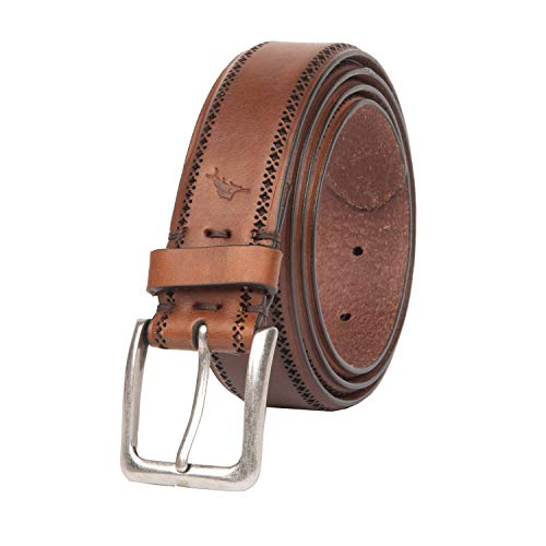 Tommy Bahama Men's 100% Leather Belt, Brown, Medium (34-36)