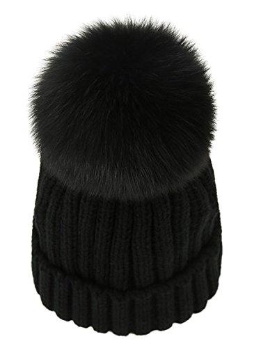 LITHER Winter Knit Hat Real Fox Fur Pom Pom Womens Girls Knit Beanie Hat Black