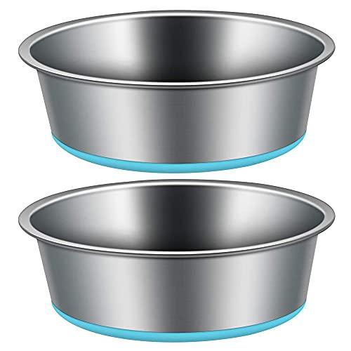 IWILCS 2PCS Cuenco para Perros de Acero Inoxidable,18cm Comederos para Cachorros, con Base de Goma Antideslizante, para Mascotas Medianas y pequeñas(Azul)