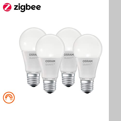 Osram Smart + CLASSIC a, LED de la bombilla con casquillo E27, Equivalente a 60W, regulable, 4unidades, plástico, 8.5W, blanco cálido, 11,5x 6x 6cm, 4unidades