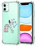Oihxse Silicona Funda con iPhone 12 Pro 6.1'' 2020 TPU Flexible Suave Transparente Protector Estuche Airbag Esquinas Reforzadas Ultra-Delgado Elefante Patrón Anti-Choque Caso (C9)