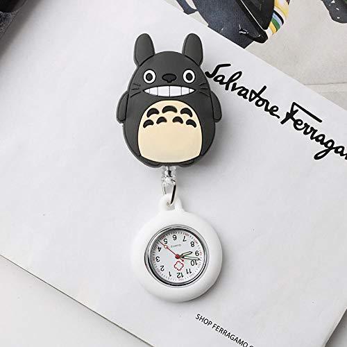 B/H Analog-digital,Quarzwerk Schwesternuhr,Einziehbare Uhr, leuchtende wasserdichte Taschenuhr-Lightpurple,Krankenschwester Armbanduhr FOB-Uhr Damen