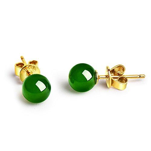 Dalwa - Pendientes de plata 925 chapados en oro para mujer con jade auténtico, perlas en esmeralda, regalo ideal para madres, mujeres y novias con amor, incluye caja de regalo