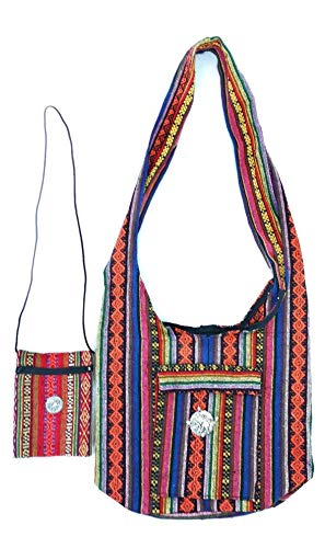 Premium A+ Hippie Thai Boho Handgemachte Crossbody Bohemian Baumwolle Tasche für Reisen Casual Arbeit Anzahl von 2