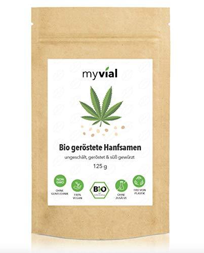 myvial® Semillas de cáñamo tostadas orgánicas, 125 g, sin pelar, tostado y dulce condimentado