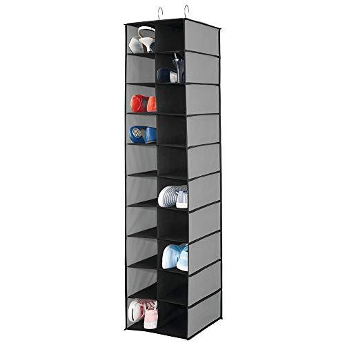 mDesign Estantería para colgar con 20 compartimentos – Organizador colgante grande para la barra del armario – Guarda zapatos para organizar armarios y ahorrar espacio, también para ropa – gris/negro