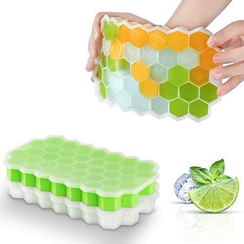 Ice Cube Trays with Lids,2-Pack 74 Ice Cubes Food Grade Silica Gel Flexible...