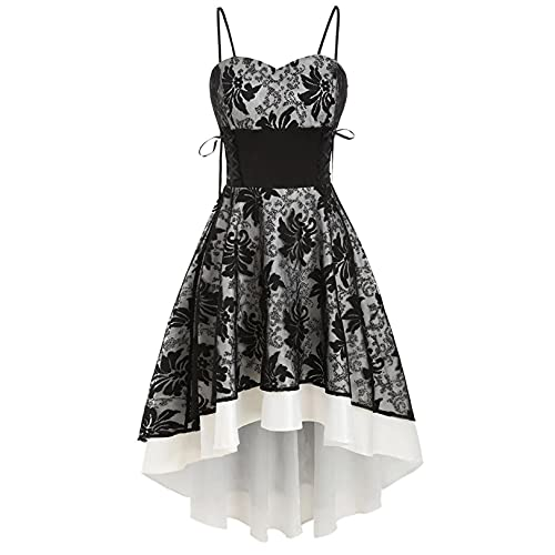 OutTop Vintage Cami Dresses for Womens High Grade Bandage Lace Up High Low Wedding Swing Formal Cocktail Party Dress (Black, XXL)
