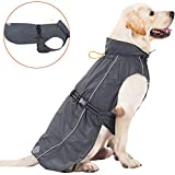 Pro Plums Dog Raincoat Adjustable Lightweight Jacket with Reflective Straps Buckle and Harness Hole Best Gift for Large Medium Small Puppy Dog (XL, Grey)