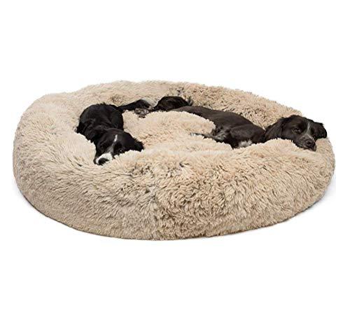 Segle Shag Fuax Donut Cuddler Höhlenbett für kleine,Mittelgroße und Große Hunde-80 * 80 * 18 cm