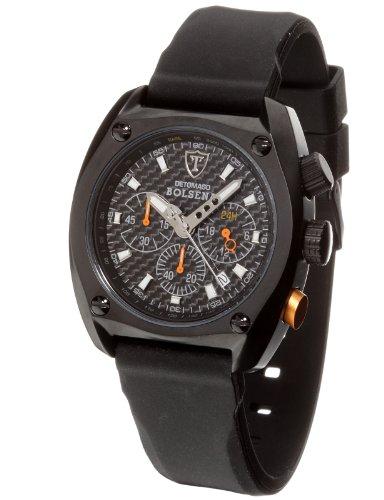 DeTomaso SP1552C-BK1 - Reloj de Caballero de Cuarzo, Correa de Silicona Color Negro (con cronómetro)