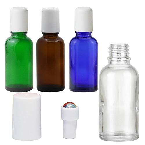 4PCS (30ml/1oz) Mix Color Empty Glass Roller Bottle with Stainless Steel Roller Balls DIY Roll-On Deodorant Bottles Reusable Massage Essential Oil Bottle Portable Sub-bottle for Outside