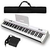 Dulcette DX-10 88-Key Portable Piano Keyboard | Dual 25W Speakers | Semi-Weighted Keys | Sustain Pedal MIDI/USB | Electric Keyboard Piano 88-Keys | FREE CARRYING BAG (88-Key, White)