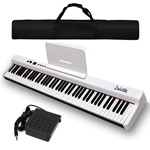 Dulcette DX-10 88-Key Portable Piano Keyboard   Dual 25W Speakers   Semi-Weighted Keys   Sustain Pedal MIDI/USB   Electric Keyboard Piano 88-Keys   FREE CARRYING BAG (88-Key, White)