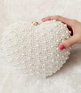 iBag's White/ivory pearl bag women's handbags evening bag Day clutch small handbag bride Wedding party bag with handle