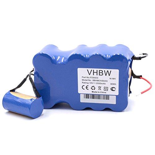 vhbw Akku passend für Bosch BBHMOVE4N/01, BBHMOVE4/03, BBHMOVE6/03 BBHMOVE4AU/03, BBHMOVE6/02, BBHMOVE5/02 Staubsauger (2000mAh, 18V, NiMH)