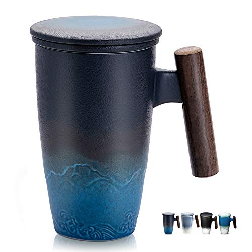 SULIVES Taza de Te Porcelana Mug Infusión con Filtro y Tapa Mango de madera 400ml (Negro y cian)