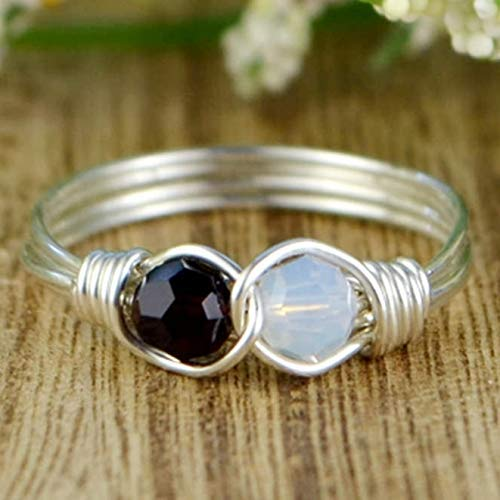 ee6b00cfd Any Two Crystals Birthstones Infinity Symbol Ring- Sterling Silver, Yellow  or Rose Gold Filled