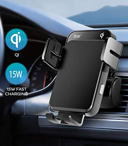 Wireless Car Charger Mount 15W Qi Fast Charging Auto-Clamping Air Vent Car Phone Mount, Auto-Alignment Car Phone Holder Compatible with iPhone 12 pro/12/11/XS/8, Galaxy S20/S20+ and More