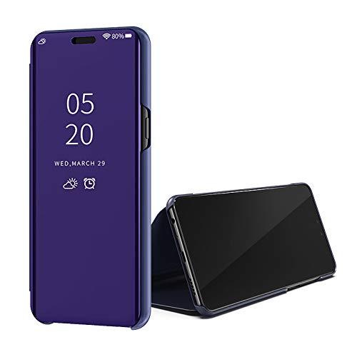 SWMGO® Espejo Enchapado Flip Funda para Samsung Galaxy A70 (Púrpura)