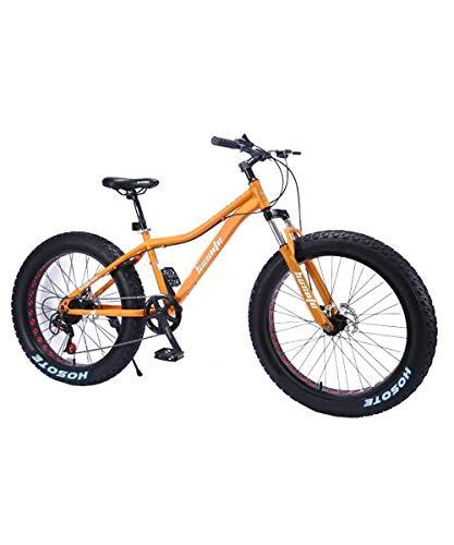 Fat Tire Mens Mountain Bikes, 26 inch Wheels 7 Speed Snow Bike Beach Bike MTB, High-Tensile Carbon Steel Frame Adult Bike, Suspension Fork Double Disc Brake