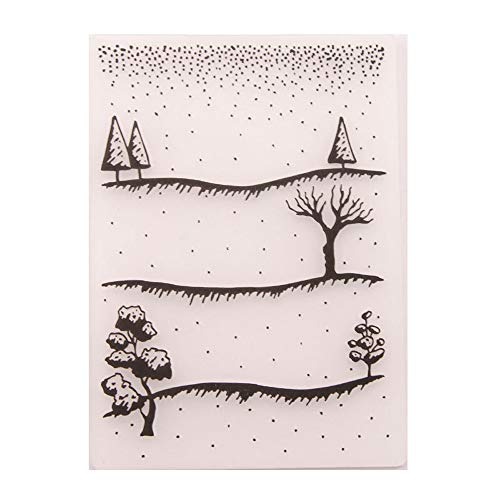 4.1 by 5.8 Inch Winter Snowy Land Trees Embossing Folders for Card Making and Scrapbooking Christmas Embossing Folders (EM168)