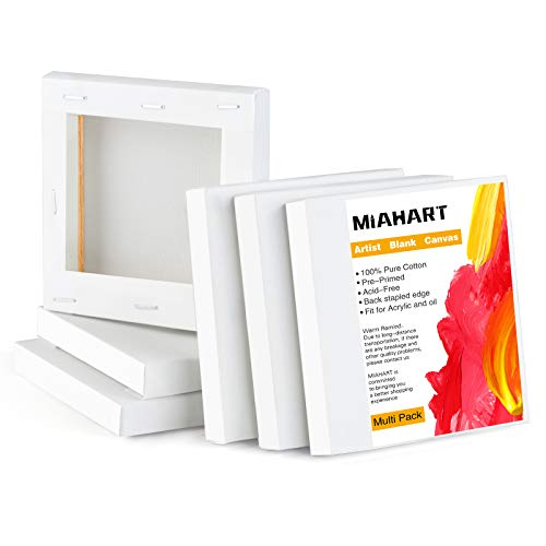 MIAHART 6 Pcs 4'x4'Mini Stretched Canvas White Blank Canvas 10x10cm Art Canvases Boards for Acrylic Oil Painting and Decorating(10x10cm)