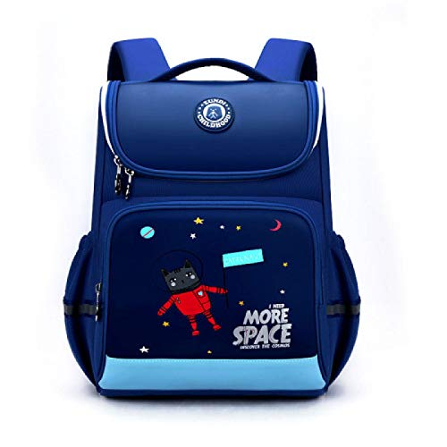 Leather Kids School Bags High Quality All Open Reflective Strip Students Backpack Waterpoof School Backpacks DarkBlue