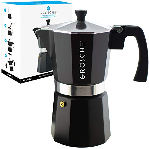 GROSCHE Milano Stovetop Espresso Maker Moka Pot 9 espresso Cup, 15.2 oz, Black. Cuban Coffee Maker Stove top coffee maker Moka Italian espresso greca coffee maker brewer percolator