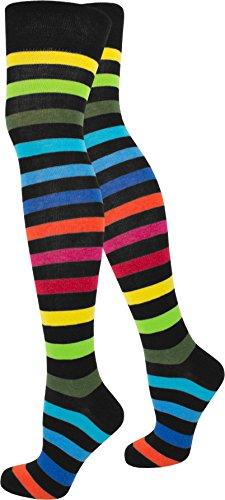 normani 1-10 Paar Damen Karneval Kostüm Fasching Baumwoll-Overknees Blickdicht Halterlose Strümpfe mit Streifen Farbe Regenbogen Größe 1 Paar