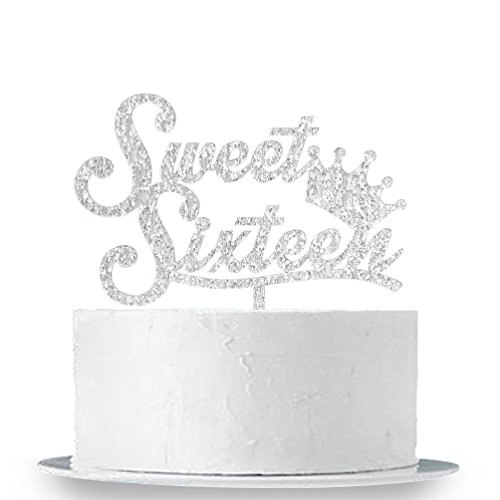 INNORU Sweet 16 Cake Topper - Silver Crown Sweet Sixteen Cake Topper - 16th Birthday Party Decorations Supplies