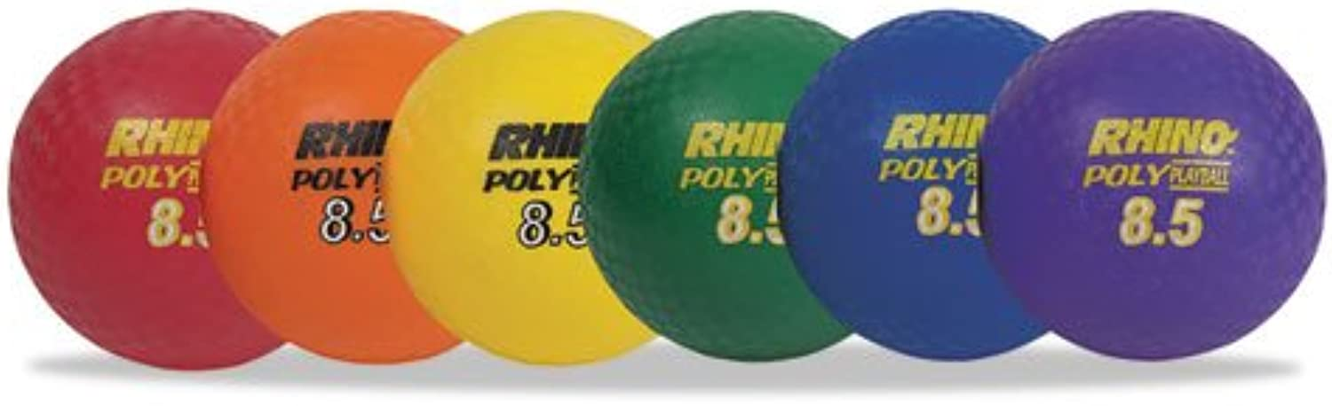 Rhino Playground Ball Set, 8 1 2  Diameter, Rubber, Assorted, 6 Balls set By  Champion Sports