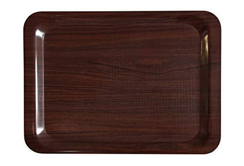 Staab's Gastro Tablett rechteckig braun/Laminat mit antirutsch Oberfläche, Kellnertablett, Serviertablett, Bierglasträger, Gläsertablett (61x43 cm)