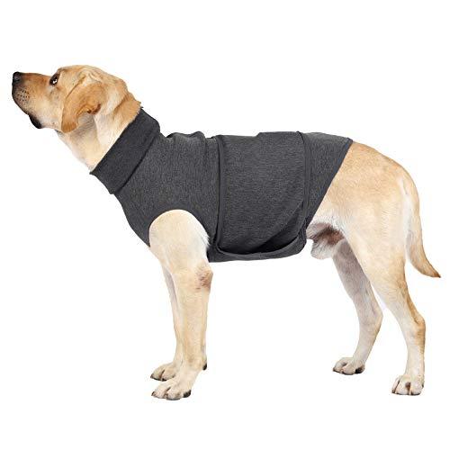 Heywean Beruhigungsweste für Hunde Hundejacke zur Linderung von Angstzuständen und Angstzuständen Hund Dog Anxiety Shirt weich (L, Grau)