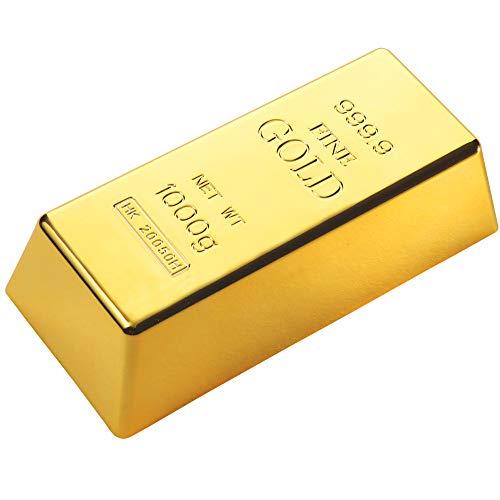 Monsterzeug Goldbarren als Türstopper, lustiger Türfeststeller, Fake Gold aus Kunststoff als funkelnder Briefbeschwerer, Witzige Geschenkidee