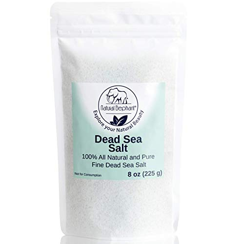 Dead Sea Salt Fine Grain 8 oz (226 g) by Natural Elephant 100% Natural & Pure for Psoriasis Eczema Acne & Other Dermatological Needs