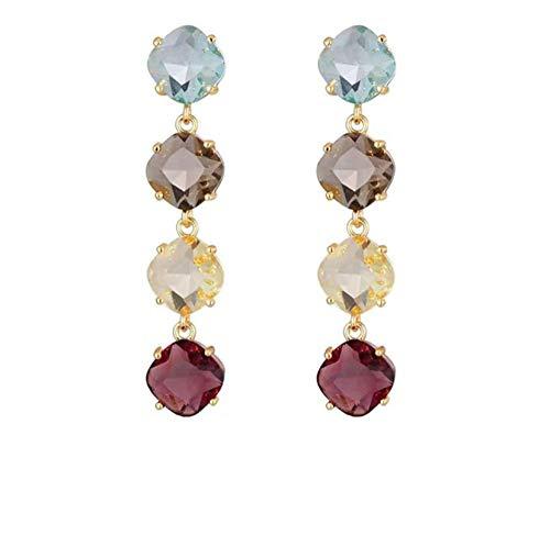 Vvff Pendientes Largos De Cristal Cuadrados Coloridos De Estrella Para Mujer Pendientes De Temperamento De Fiesta Joyas