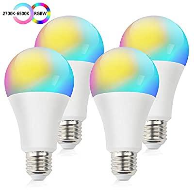 Smart WiFi Light Bulb, ZHENREN LED Alexa Smart Bulbs 4 Pack, RGBW Multicolor 800 Lumen E26/ E27 12W 2.4GHz, 100W Equivalent, Compatible with Alexa, Google Assistant and IFTTT, No Hub Required
