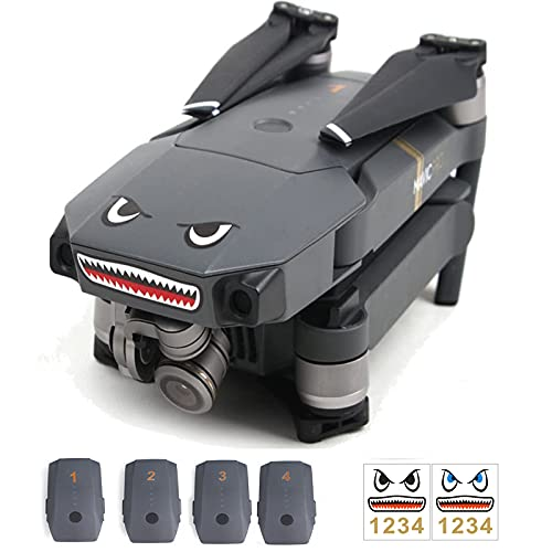 Tmom 2 Set di adesivi e batterie per DJI Air 2s/Mini 2/Mavic Air 2/Mavic Mini/Mavic Pro/Spark Drone Skin Sticker Impermeabile Shark Decal Sticker