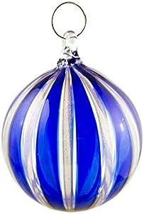 Bola de Navidad de rayas azules con bolas de cristal de Murano de colores, ideal para colgar y para regalar